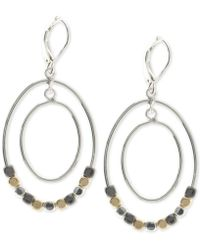 Nine West - Tri-tone Beaded Orbital Drop Earrings - Lyst