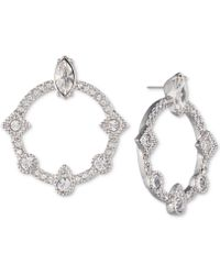 Givenchy | Silver-tone Crystal Drop Hoop Earrings | Lyst