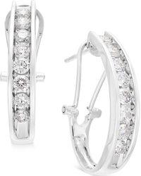 Macy's - Diamond J Hoop Earrings (1 Ct. T.w.) In 10k Gold, White Gold Or Rose Gold - Lyst