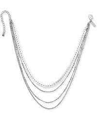 "INC International Concepts - Silver-tone Multi-layer Chain Choker Necklace, 12"" + 3"" Extender - Lyst"