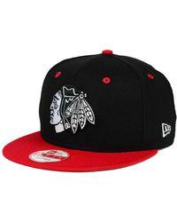 KTZ - Chicago Blackhawks Black White Team Color 9fifty Snapback Cap - Lyst