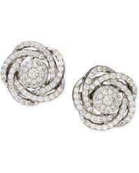 Macy's - Diamond Earrings, 14k White Gold Diamond Pave Knot Earrings (1 Ct. T.w.) - Lyst