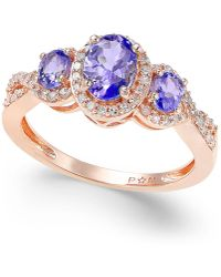 Macy's - Tanzanite (1 Ct. T.w.) And Diamond (1/4 Ct. T.w.) Three-stone Ring In 14k Rose Gold - Lyst