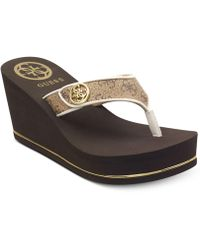 Guess - Sarraly Eva Logo Wedge Sandals - Lyst