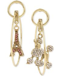 Betsey Johnson - Gold-tone Pavé Poodle & Eiffel Tower Mismatch Orbital Drop Earrings - Lyst