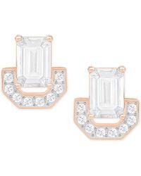Swarovski - Rose Gold-tone Square Crystal Stud Earrings - Lyst