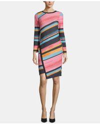 6a12f5fd Eci - Striped Asymmetrical-hem Dress - Lyst