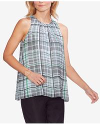 Vince Camuto - Plaid Sleeveless Top - Lyst