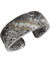Effy Collection - Diamond Round Swirl Diamond Cuff (1/4 Ct. T.w.) In 18k Gold And Sterling Silver - Lyst
