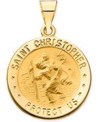 Macy's | 14k Gold Necklace, Saint Christopher Medal Pendant | Lyst
