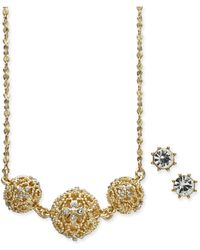 Charter Club - Gold-tone 2 Pc. Set Crystal Filigree Pendant Necklace And Crystal Stud Earrings, Created For Macy's - Lyst