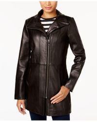 Cole Haan - Asymmetrical Leather Jacket - Lyst