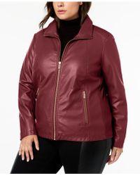3196db79ba4 Kenneth Cole - Plus Size Mixed-media Moto Jacket - Lyst