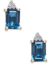 Macy's - London Blue Topaz (2-9/10 Ct. T.w.) & Diamond Accent Drop Earrings In 14k Gold - Lyst