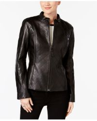 Jones New York - Quilted Leather Jacket - Lyst
