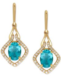 Macy's | Apatite (1-3/4 Ct. T.w.) And Diamond (1/5 Ct. T.w.) Drop Earrings In 14k Gold | Lyst
