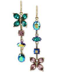 Betsey Johnson - Gold-tone Multi-stone Butterfly Mismatch Linear Drop Earrings - Lyst