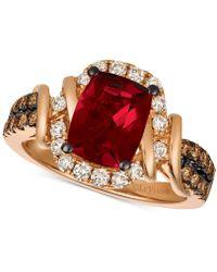 Le Vian - Chocolate & Nudetm Raspberry Rhodolite® (1-9/10 Ct. T.w.) & Diamond (5/8 Ct. T.w.) Ring In 14k Rose Gold - Lyst
