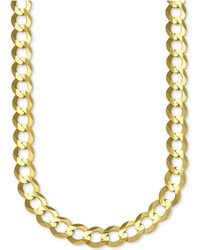 Macy's - Men's Gauge Curb Chain Necklace In 10k Gold - Lyst