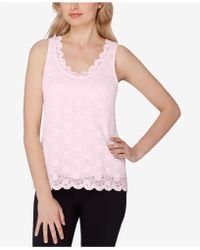 Tahari - Scalloped Lace Top - Lyst