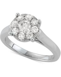 Macy's - Diamond Floral Cluster Ring (1 Ct. T.w.)in 14k White Gold - Lyst