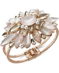 INC International Concepts - I.n.c. Rose Gold-tone Crystal & Imitation Pearl Cuff Bracelet, Created For Macy's - Lyst