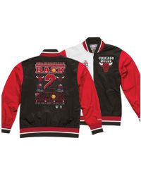 6100d88b631 Lyst - Mitchell   Ness Chicago Bulls Satin Jacket In Black   Red in ...