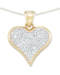 "Signature Gold - Tm Diamond Accent Swarovski Crystal Heart 18"" Pendant Necklace In 14k Gold Over Resin - Lyst"