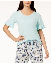 Hue - ® Solid Flounce-sleeve Pyjama Top - Lyst