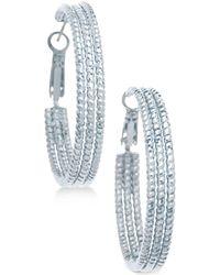 Guess - Textured Hoop Earrings - Lyst
