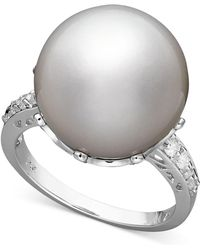 Macy's - 14k White Gold Ring, Cultured South Sea Pearl (14mm) And Diamond (1/5 Ct. T.w.) - Lyst
