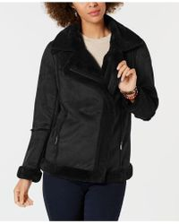 Style & Co. - Petite Faux-shearling Moto Coat, Created For Macy's - Lyst