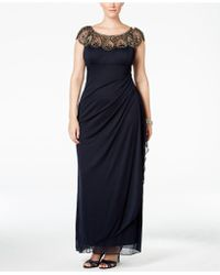 Xscape - Plus Size Embellished Beaded Yoke Gown - Lyst