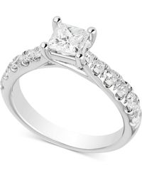 Macy's - Diamond Princess Engagement Ring (1-1/2 Ct. T.w.) In 14k White Gold - Lyst
