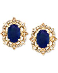 Macy's - Sapphire (1-1/3 Ct. T.w.) & Diamond (1/8 Ct. T.w.) Stud Earrings In 14k Gold - Lyst