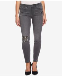 Cece - Gray Sequin Patch Skinny Jeans - Lyst