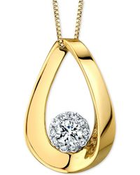 """Macy's - Diamond Halo Polished Teardrop 18"""" Pendant Necklace (1 Ct. T.w.) In 14k Gold & White Gold - Lyst"""