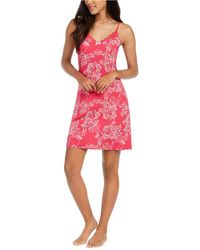 Sesoire Contrast Printed Chemise Nightgown - Pink