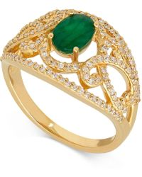 Macy's - Emerald (7/8 Ct. T.w.) And Diamond (3/8 Ct. T.w.) Openwork Ring In 14k Gold - Lyst