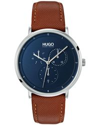 BOSS - #guide Ultra Slim Brown Leather Strap Watch 40mm - Lyst