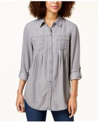 Style & Co. - Pleated Roll-tab-sleeve Shirt, Created For Macy's - Lyst