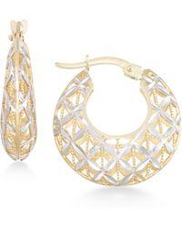 Macy's - Openwork Two-tone Round Chunky Hoop Earrings In 14k Gold And White Gold - Lyst
