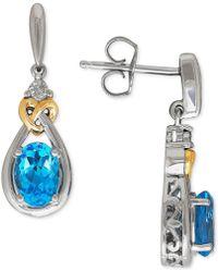 Macy's - Blue Topaz (1-3/4 Ct. T.w.) & Diamond Accent Drop Earrings In Sterling Silver & 14k Gold - Lyst