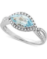 Macy's - Aquamarine (9/10 Ct. T.w.) & Diamond (1/8 Ct. T.w.) Marquise Ring In 10k White Gold - Lyst
