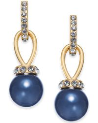 Charter Club - Gold-tone Crystal & Colored Imitation Pearl Drop Earrings, Created For Macy's - Lyst