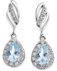 Macy's - Aquamarine (3/4 Ct. T.w.) & Diamond (1/3 Ct. T.w.) Drop Earrings In 14k White Gold - Lyst