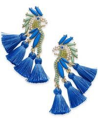 INC International Concepts I.n.c. Gold-tone Stone & Tassel Feather Parrot Drop Earrings