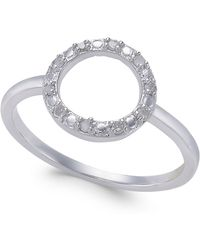 Macy's - Diamond Circle Ring (1/10 Ct. T.w.) In Sterling Silver - Lyst