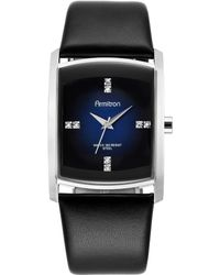 Armitron - Men's Crystal Accent Black Leather Strap Watch 32mm 20-4604dbsvbk - Lyst