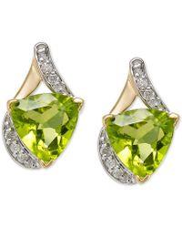 Macy's - Peridot (4 Ct. T.w.) & Diamond (1/8 Ct. T.w.) Stud Earrings In 14k Gold - Lyst